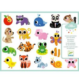Djeco Big Stickers for Toddlers, Baby Animals
