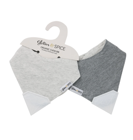 Glitter and Spice Doubled Sided Chew Bib, Heather Grey/Coal Harbour