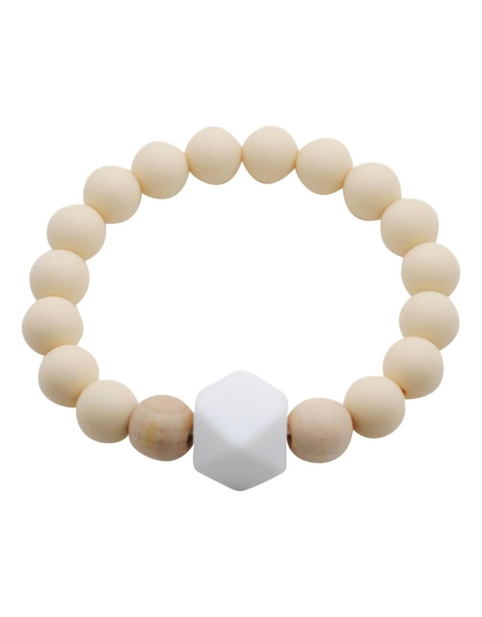 Glitter and Spice Chew Gemstone Bracelet, Barely Beige