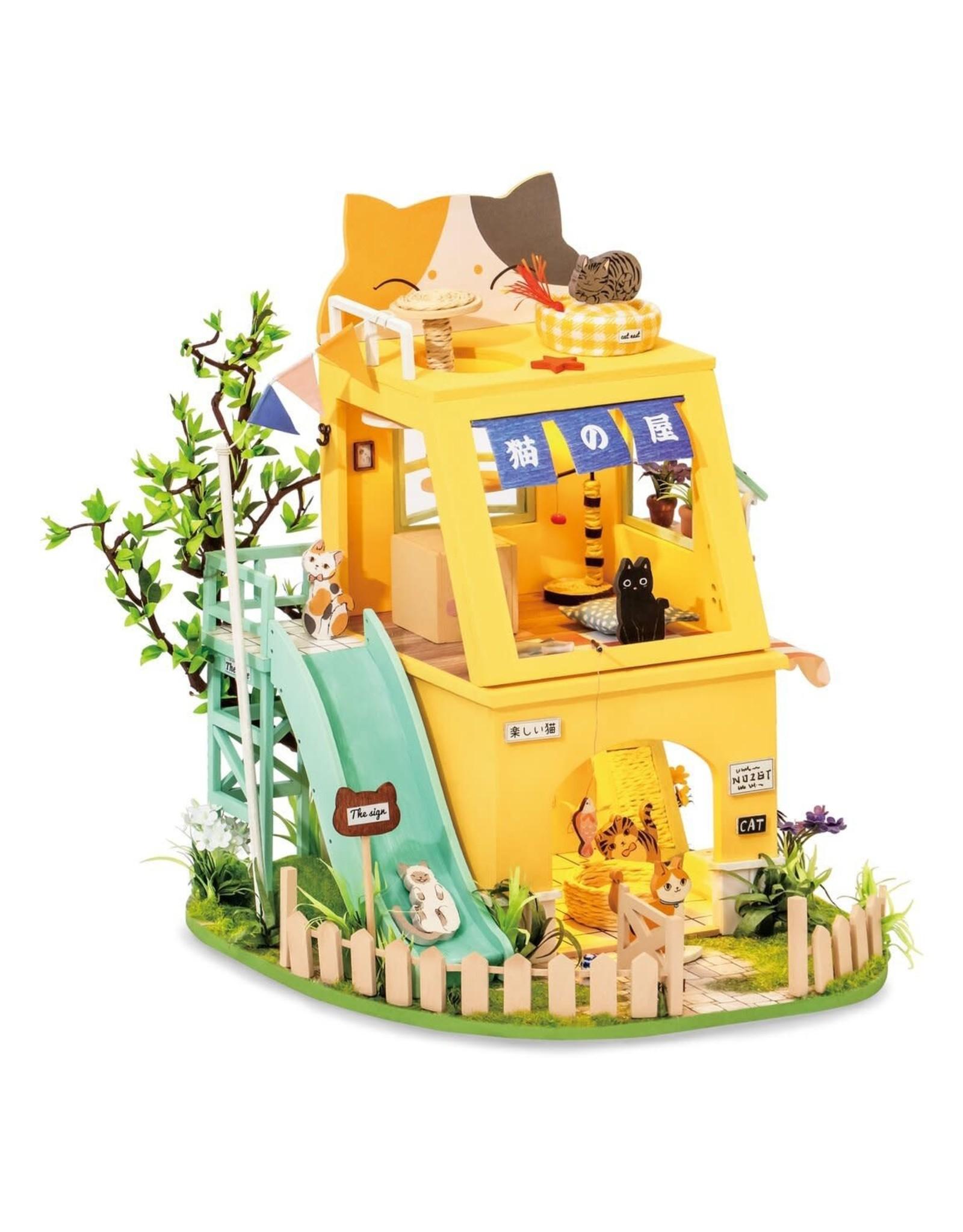 Hands Craft DIY Miniature Dollhouse Kit, Cat House