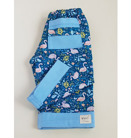 Georgi Pearson Quilty Pants, Blue with Flamingos