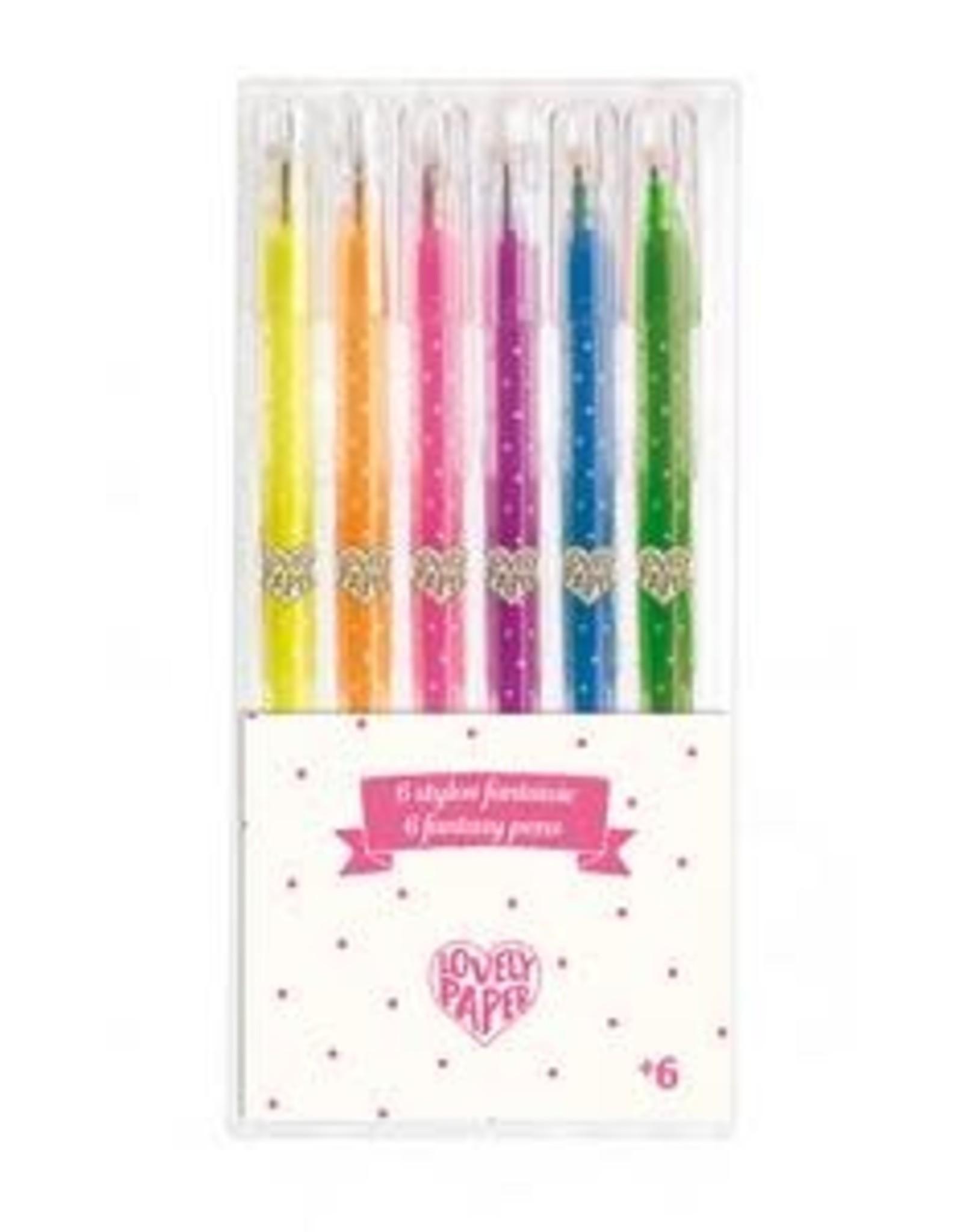 Djeco 6 Gel Pens, Neon