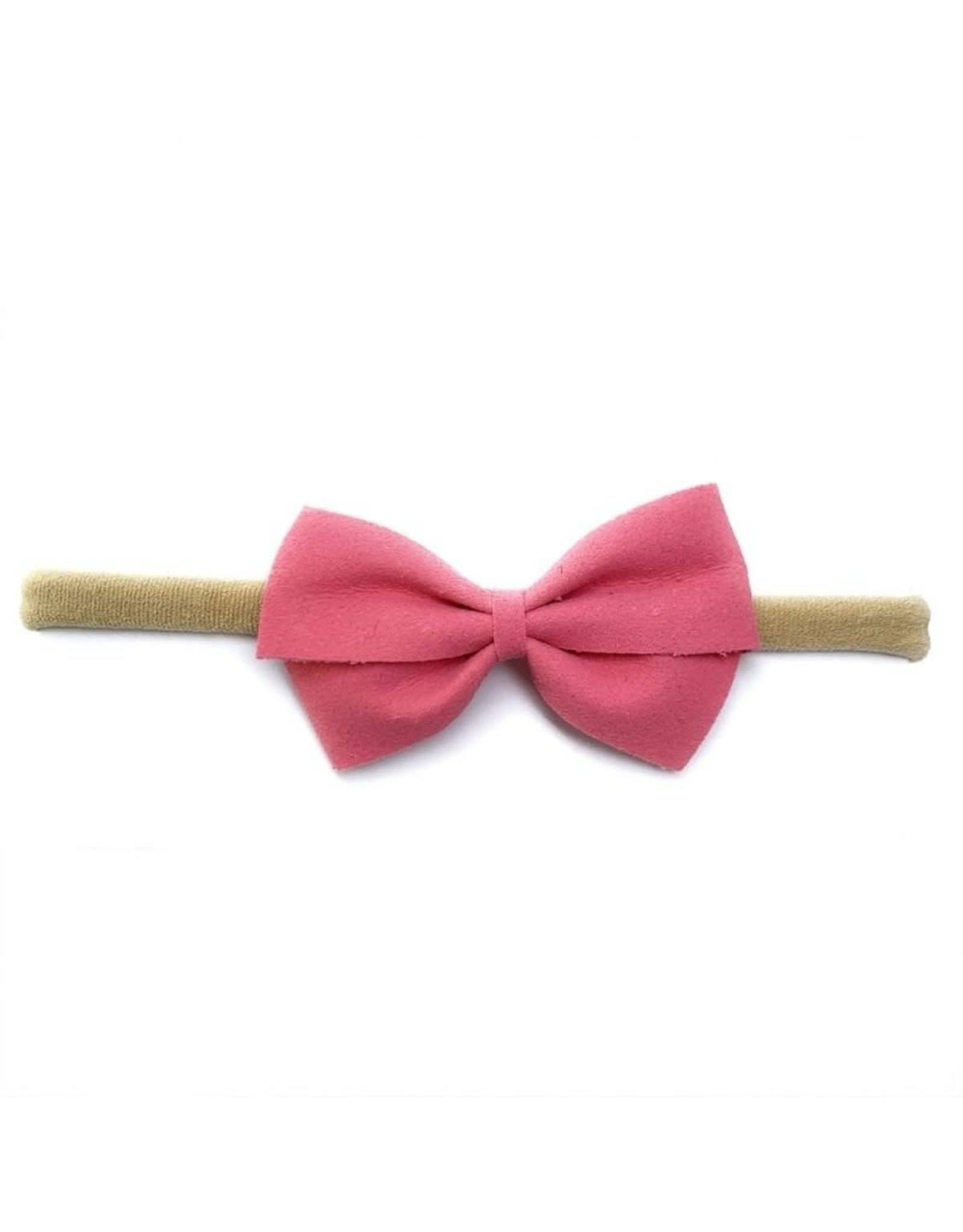 Baby Wisp Baby Wisp Thali Faux Suede Bow Headband, Candy Pink