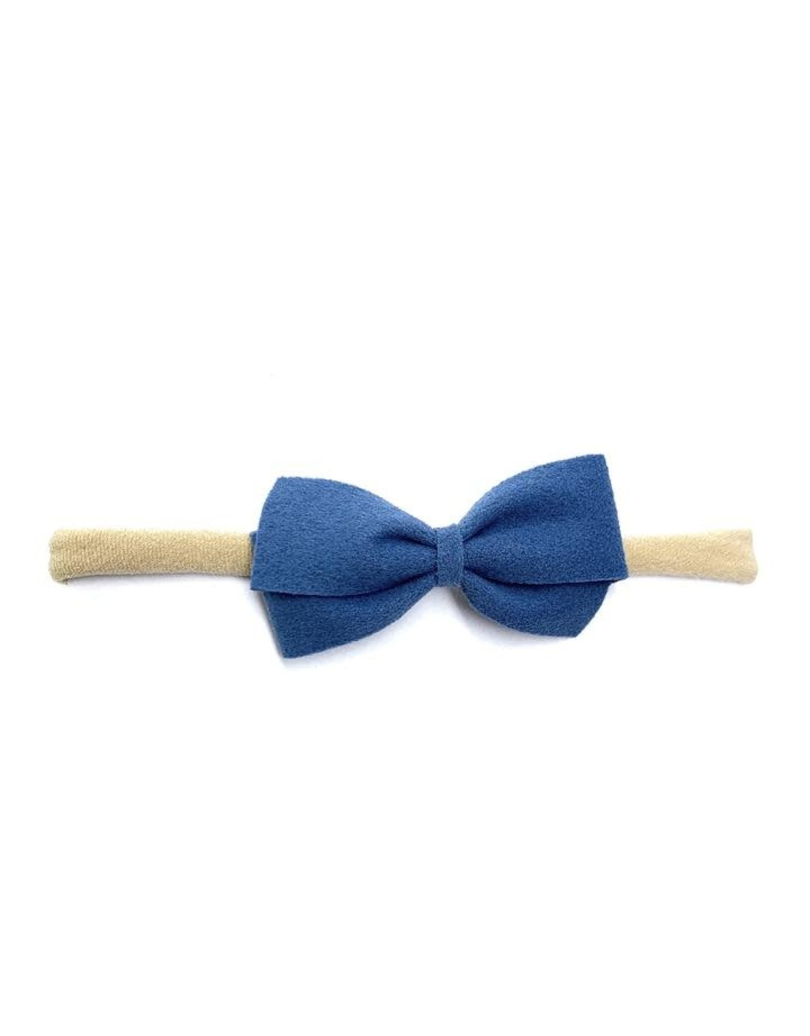 Baby Wisp Baby Wisp Thali Faux Suede Bow Headband, Smoke Blue