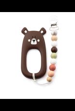 Little Cheeks Bear Clip, Brown
