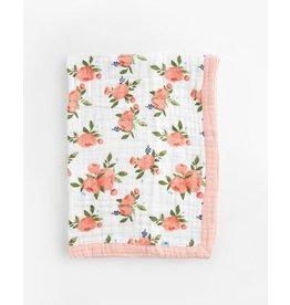 Little Unicorn, LLC Cotton Muslin Baby Blanket, Watercolor Roses