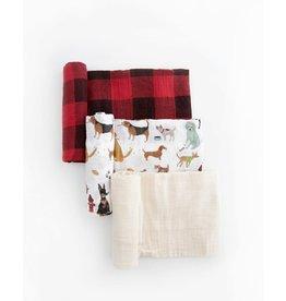 Little Unicorn, LLC Cotton Muslin Swaddle 3 Pk, Woof