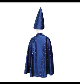 Great Pretenders Glitter Wizard Cape & Hat, Blue 4-6