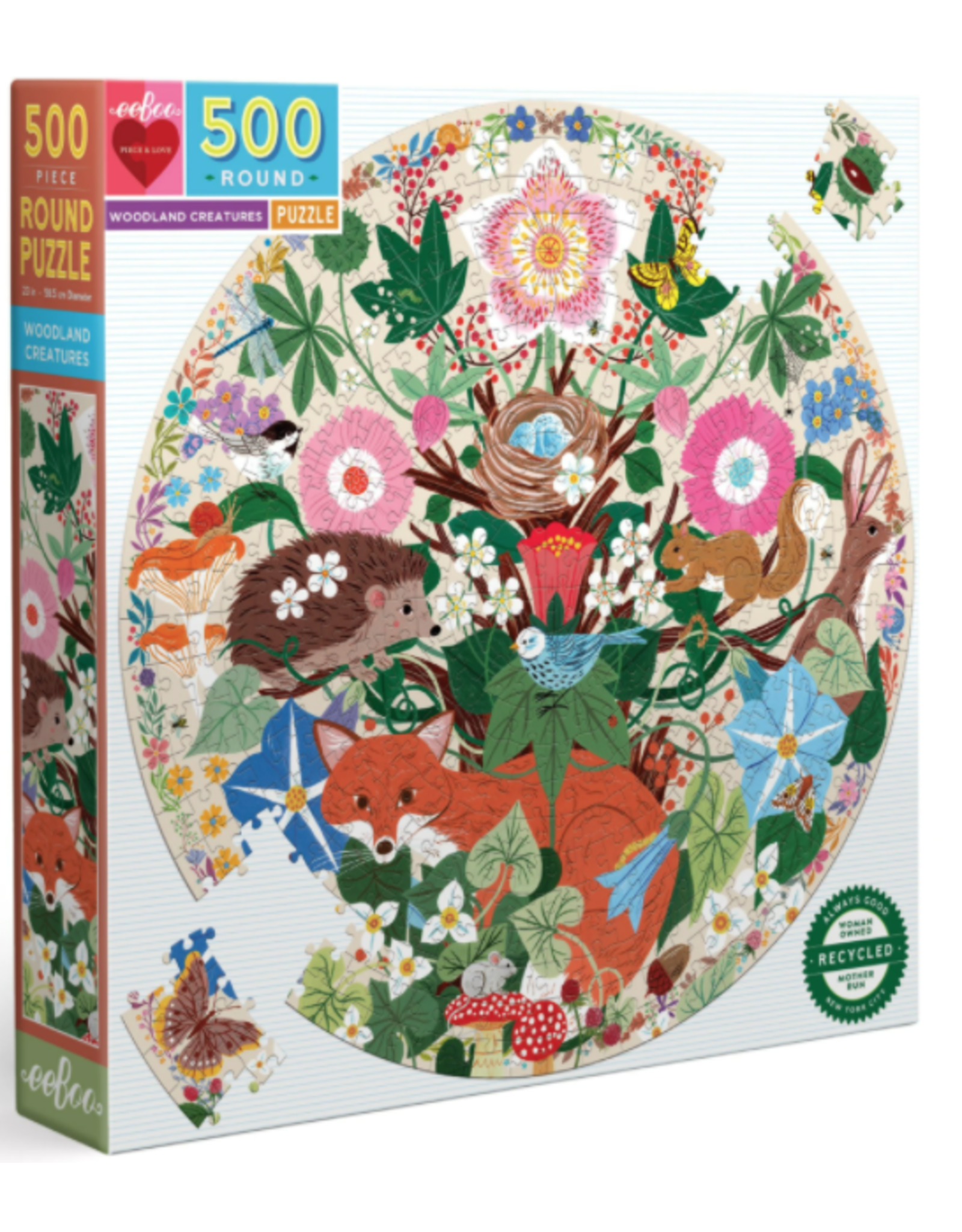 Eeboo 500 pcs Woodland Creatures round Puzzle