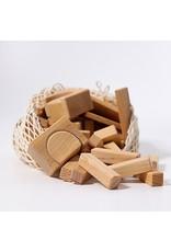 Grimm's Spiel & Holz Design Geometrical Blocks, Natural in Net Bag