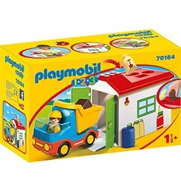 Playmobil 1.2.3 Construction Truck with Garage