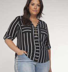 Dex Clothing Plus Stripe Blouse
