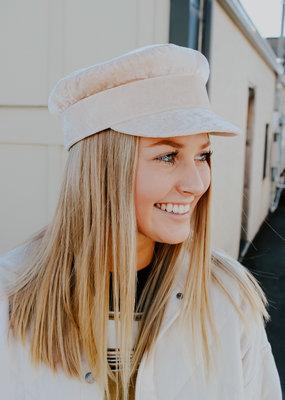 Cream Velvet Conductor Hat