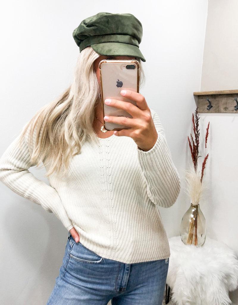 Olive Velvet Sailor Hat