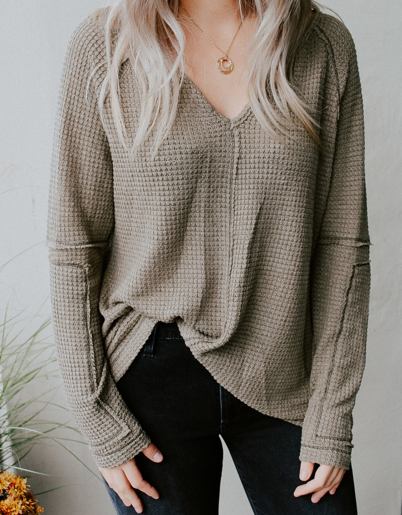 Janelle Waffle Top