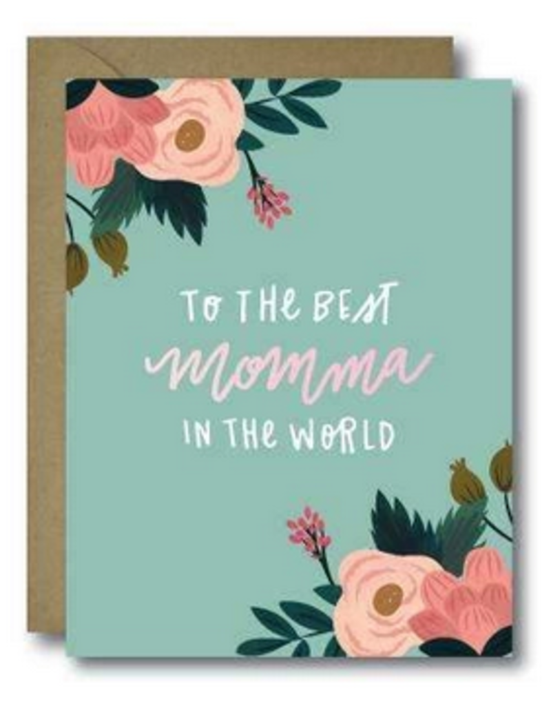 Floral Best Momma In The World Greeting Card