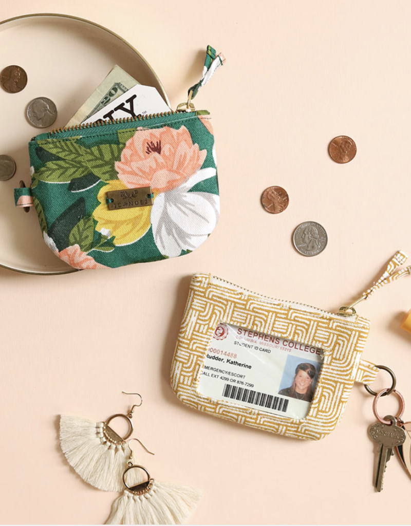 Olive Herringbone ID Wallet