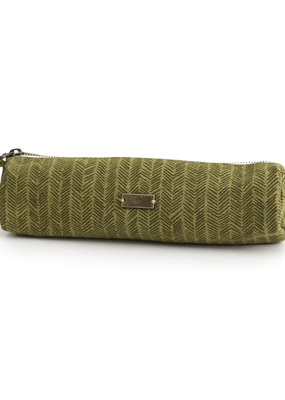Faire Olive Herringbone Pencil Pouch