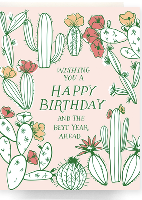 Faire Cactus Toile Birthday Greeting Card