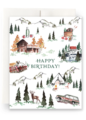 Faire Alpine Lodge Birthday Greeting Card