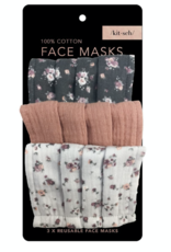 Kitsch Cotton Mask 3pc Set, Vintage Floral