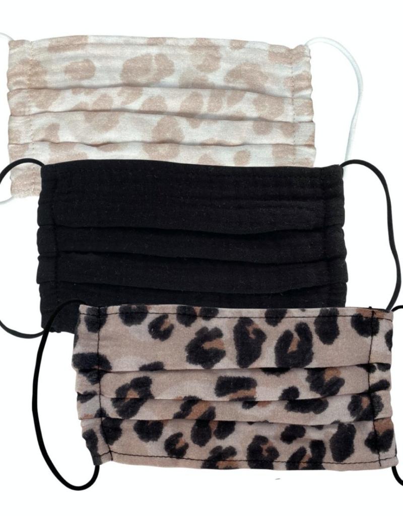 Kitsch Cotton Mask 3pc Set, Leopard