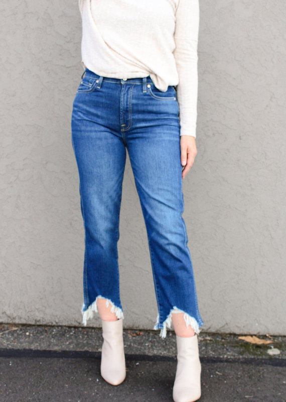 7 For All Mankind 7 For All Mankind: High Waist Cropped Straight Leg