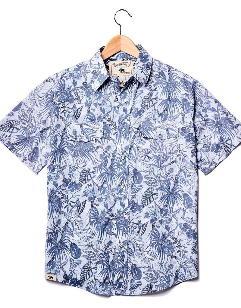 Western Aloha Ghost Floral Storm Blues