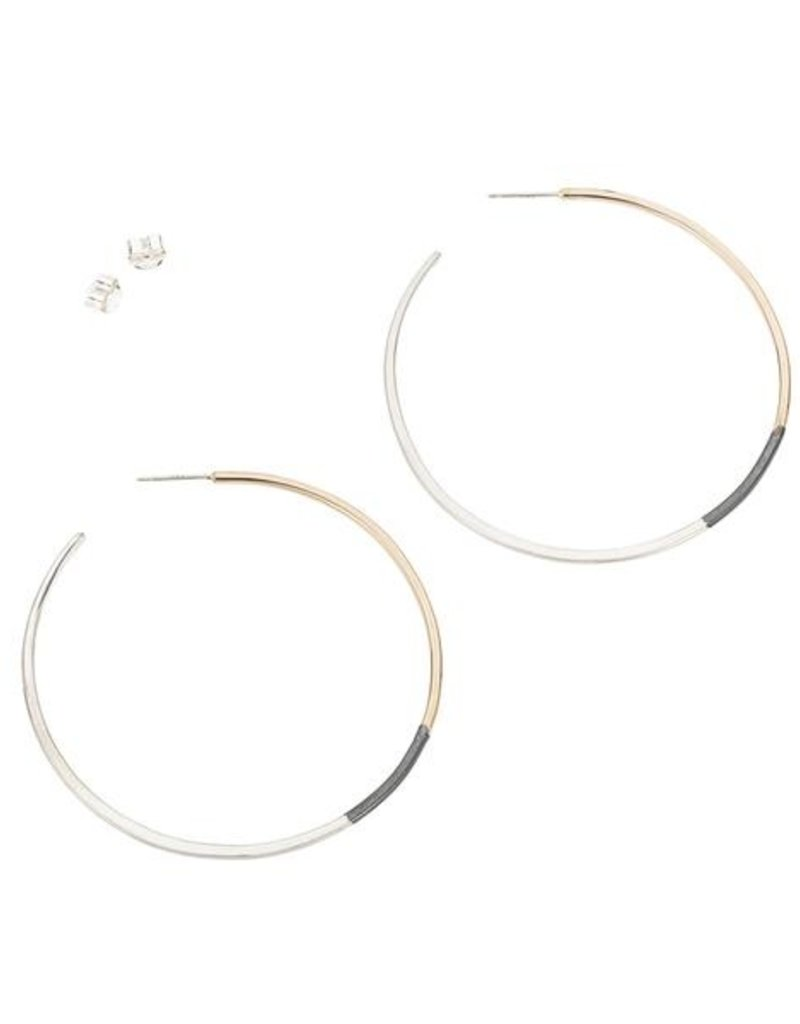 Colleen Mauer Large Tri-Toned Classic Circle Hoop Earrings
