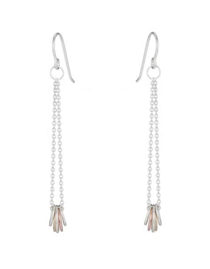 Colleen Mauer Gold & Silver Cinq Tri-Toned Earrings