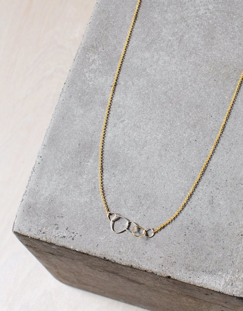 Colleen Mauer 5-Loop Mini Pebble Gold Chain Necklace