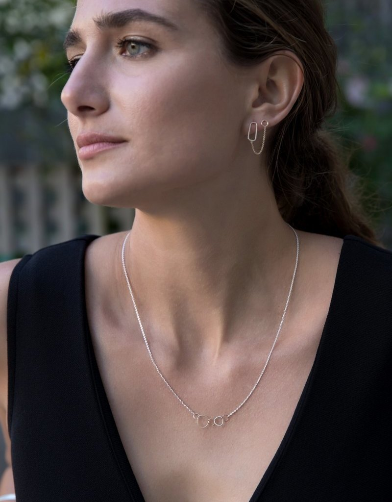 Colleen Mauer 5-Loop Mini Pebble Silver Chain Necklace