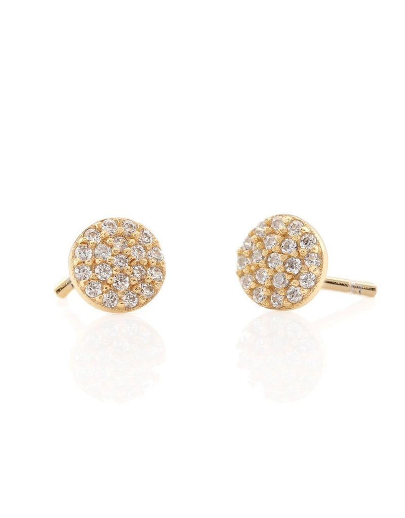 Kris Nations Round Pave Stud Earrings Gold