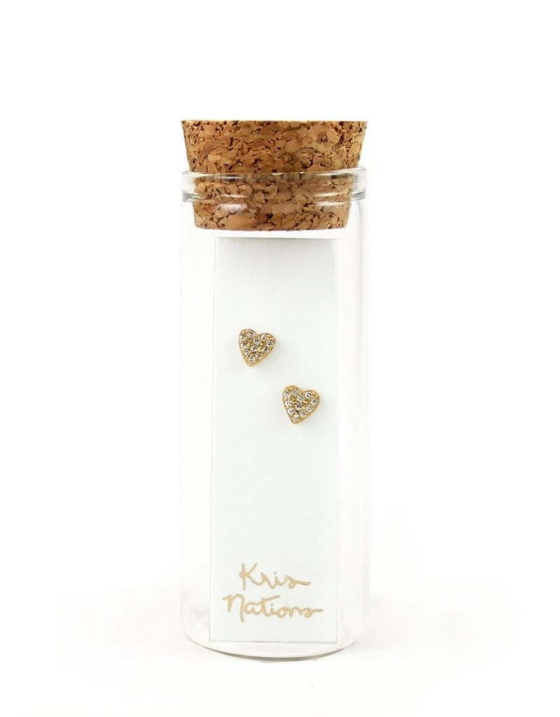 Kris Nations Heart Pave Stud Earrings Gold