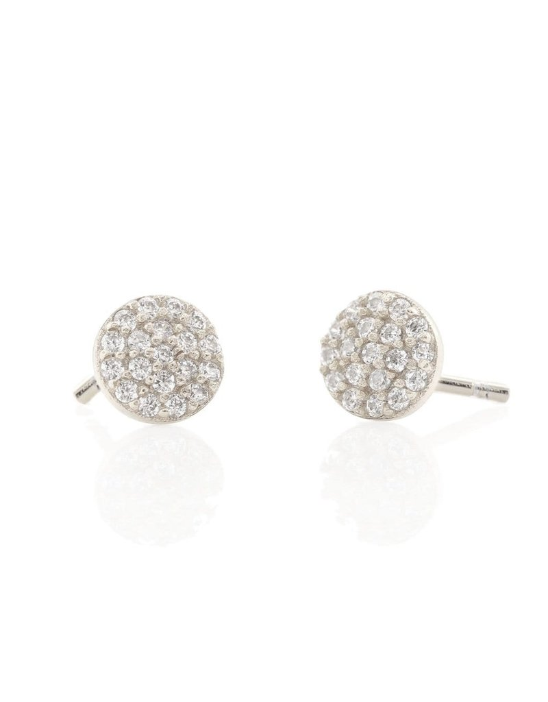 Kris Nations Round Pave Stud Earrings Silver