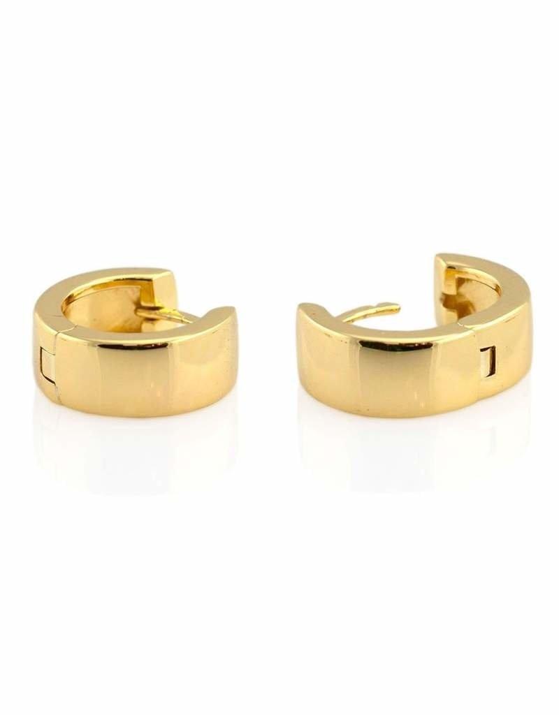 Kris Nations Wide Hinged Huggie Hoop Earrings Gold
