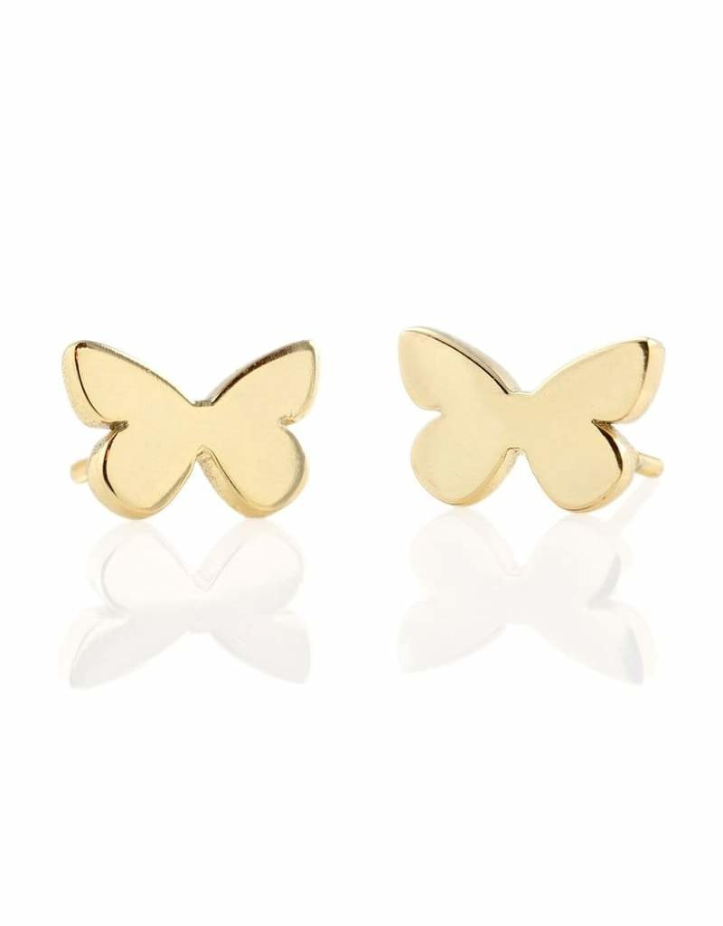 Kris Nations Butterfly Stud Earrings Gold