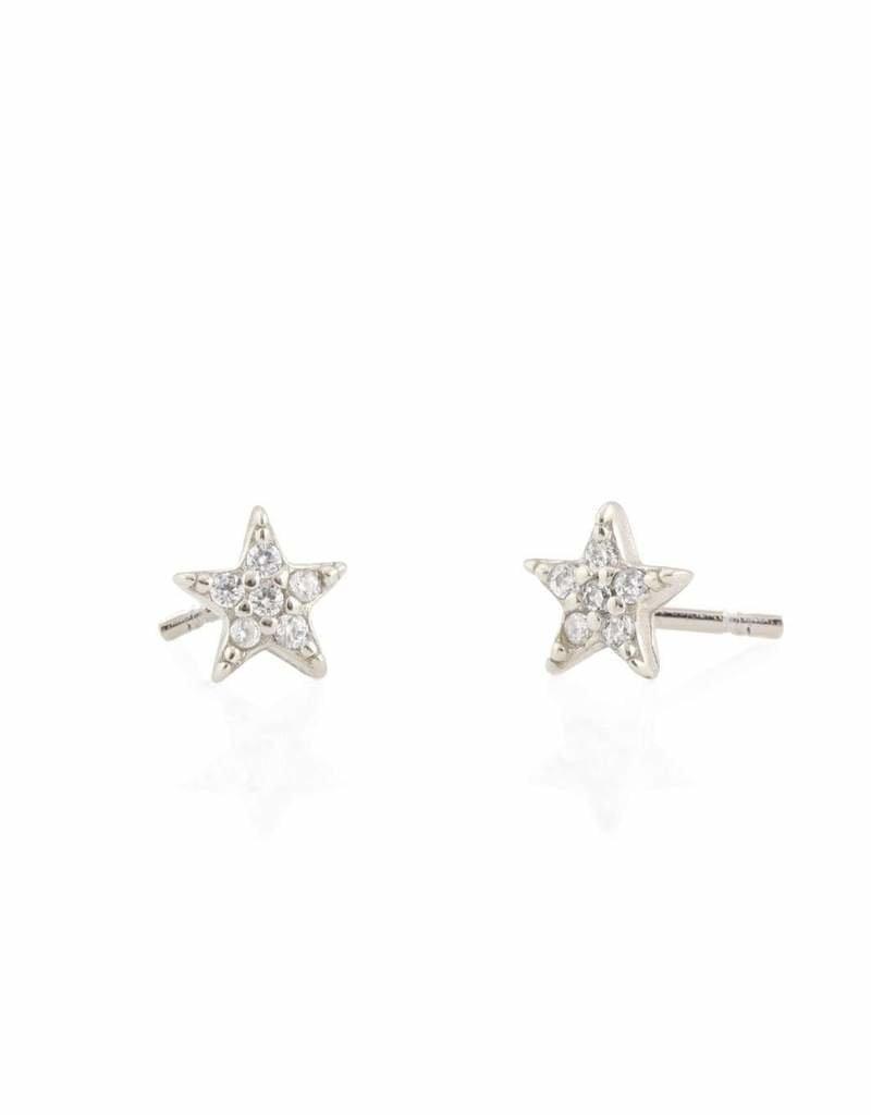 Kris Nations Star Pave Stud Earrings Silver
