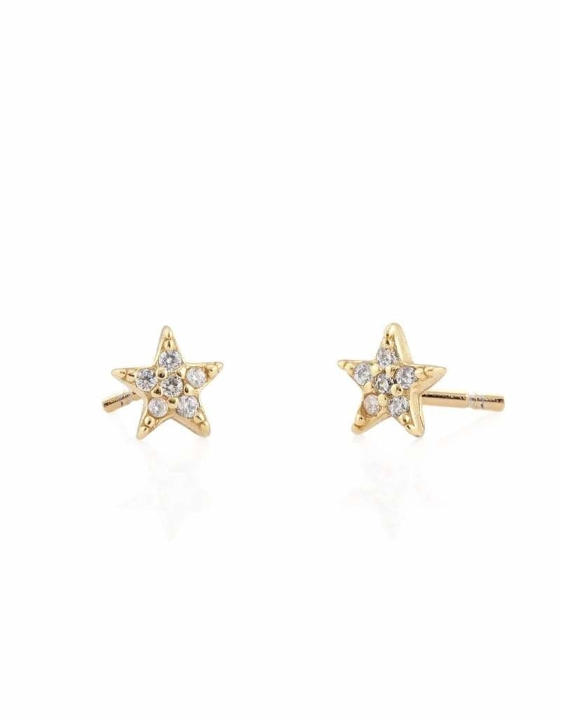 Kris Nations Star Pave Stud Earrings Gold