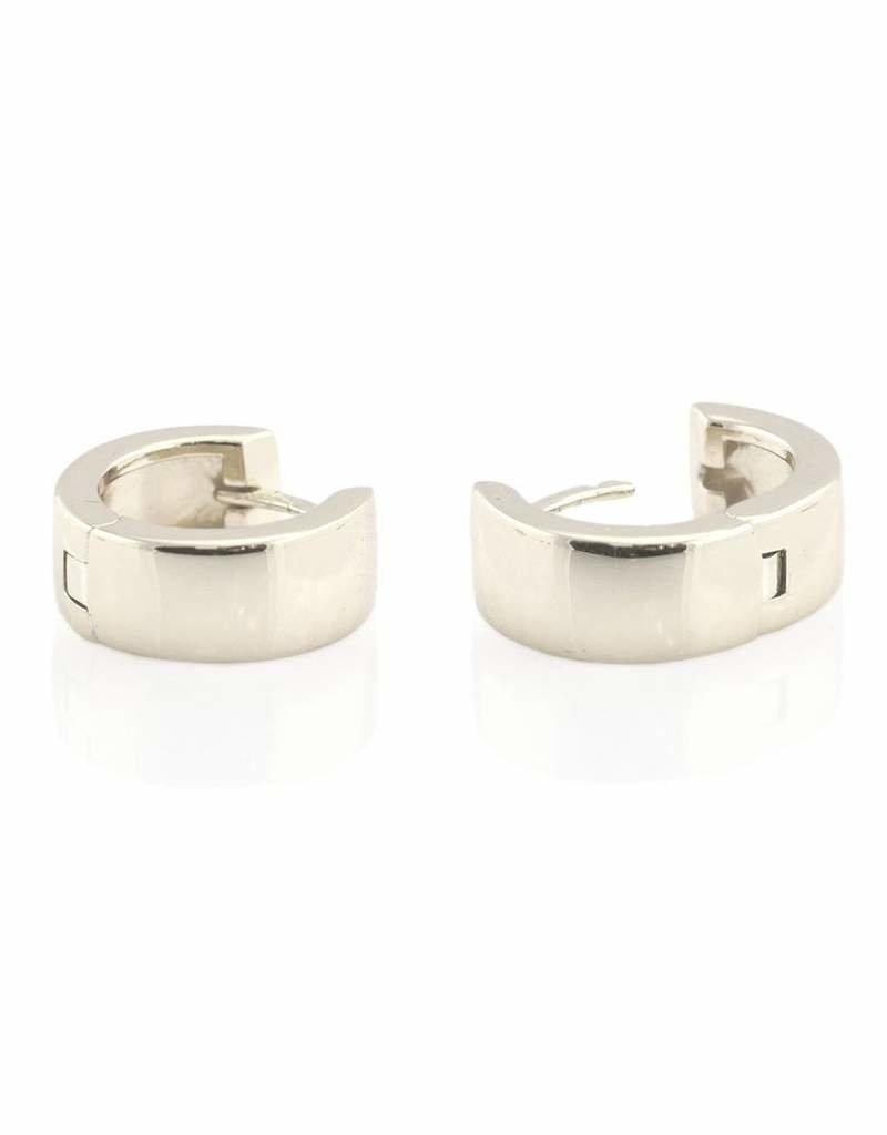 Kris Nations Wide Hinged Huggie Hoop Earrings Silver