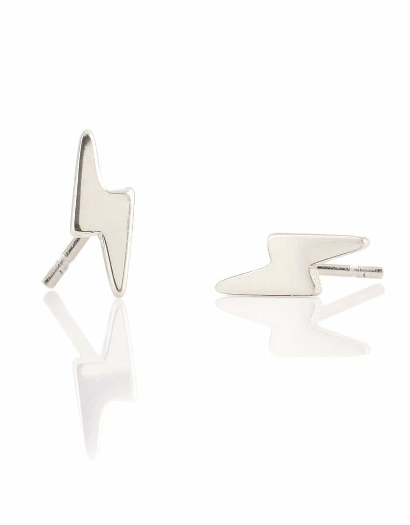 Kris Nations Lightning Bolt Stud Earrings Silver