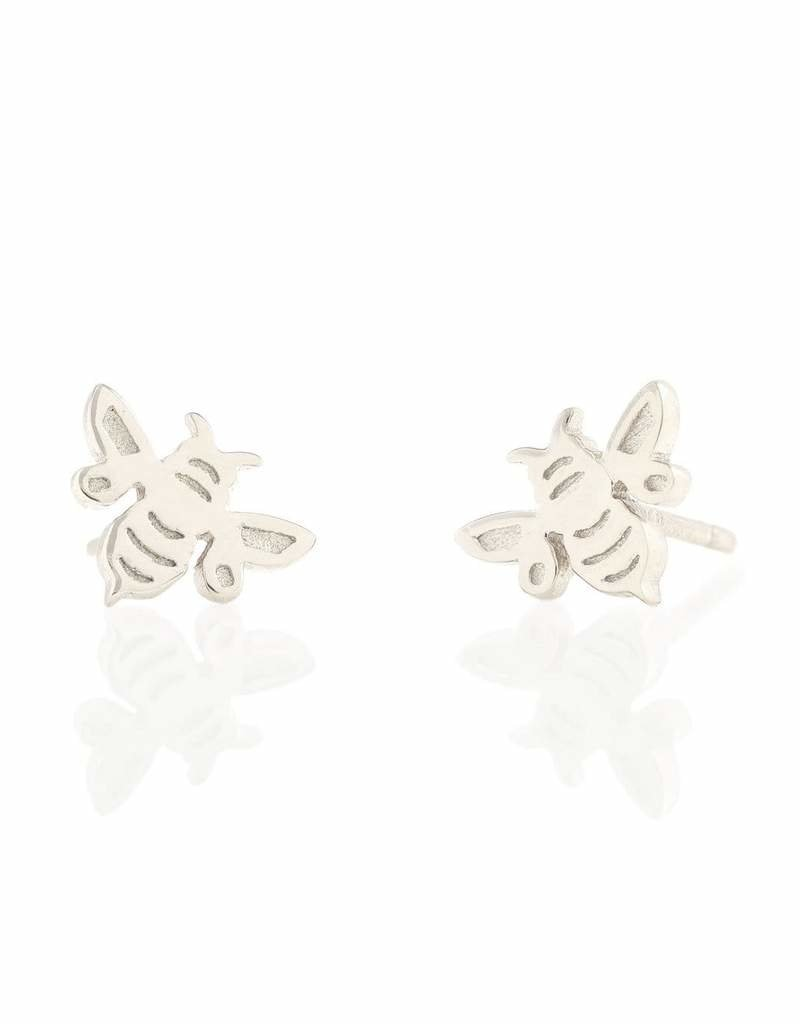 Kris Nations Bumble Bee Stud Earrings Silver