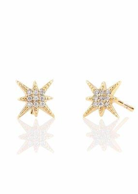 Kris Nations Starburst Pave Earrings Gold
