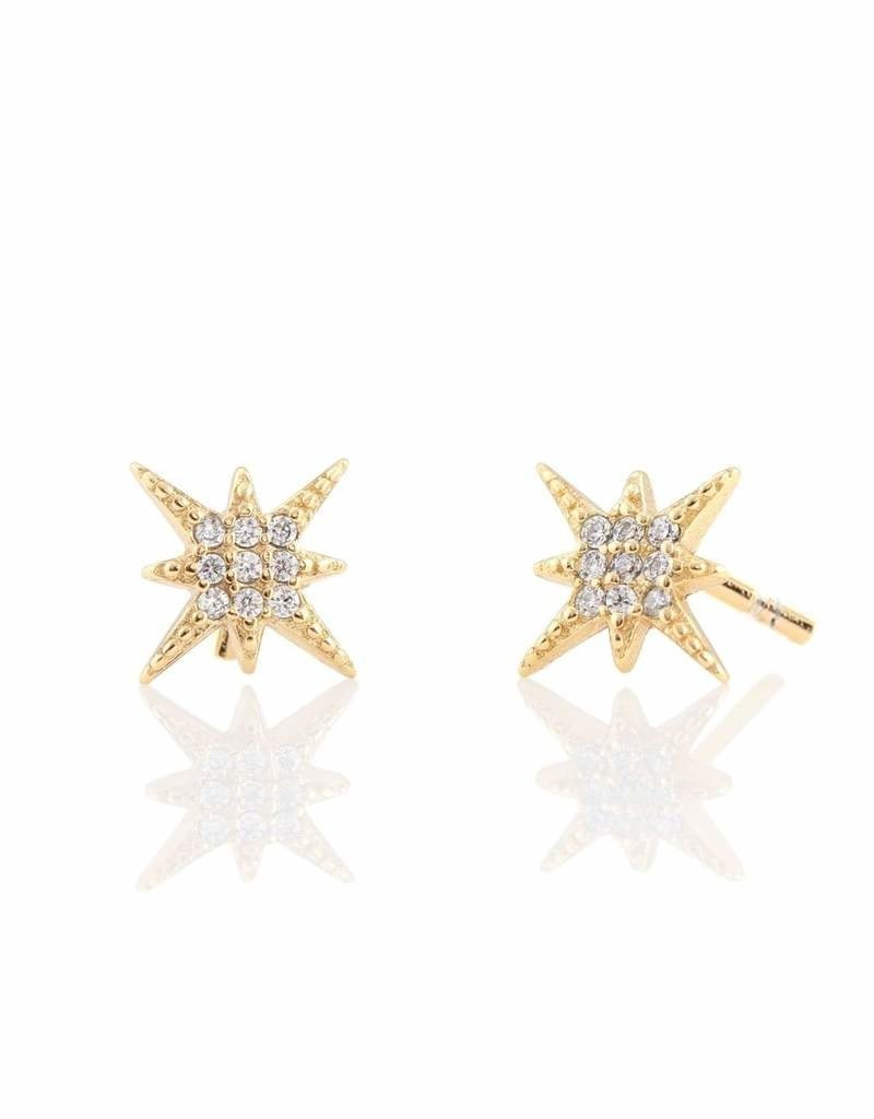 Kris Nations Starburst Pave Earrings Gold