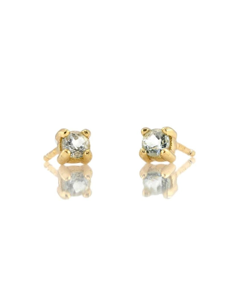 Kris Nations Prong Set Gemstone Stud Earrings Gold