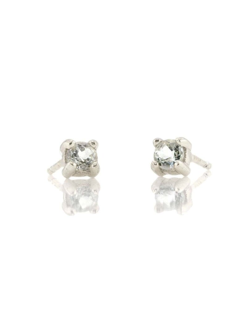 Kris Nations Prong Set Gemstone Stud Earrings Silver