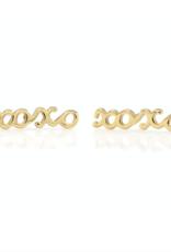 Kris Nations XOXO Script Stud Earrings Gold