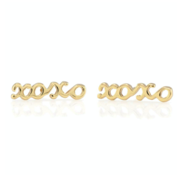 Kris Nations XOXO Script Stud Earrings Gold