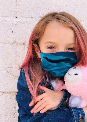 AMP Kids Mask Turquoise Camo