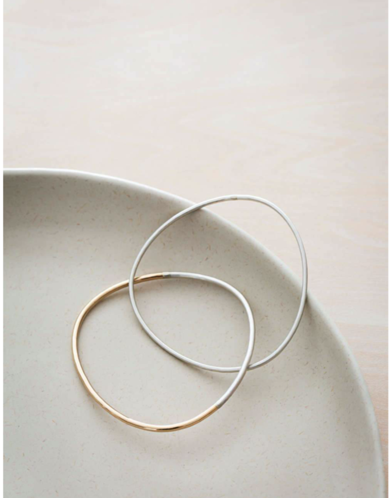 Colleen Mauer 2-Loop 2-Toned Bangle, Mostly Silver